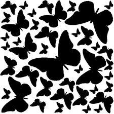 Sticker Décoration Planche Envolée Papillons 30x30 cm (Papillons de 2,3 à 14 cm)