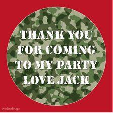Personalizzata Esercito Mimetico COMPLEANNO ADESIVI PARTY ringraziamento dolce cod istituzionali