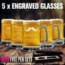 5 x Engraved 500ml Beer Mug Gift Boxed Wedding Glass Personalised Groomsman Gift