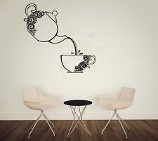 Vinyl Decal Cup Teapot Floral Wall Sticker Element Decor (n1019)