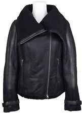 UNICORN Womens Luxury Fashion Sheepskin Leather Jacket Black With Black Fur #DU