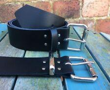 Black Belt 2 Inch Wide 100% Real Leather Handmade Choice of Buckle & Keeper Loop