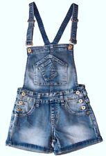 salopette jeans bambina corta short pantaloncini bretelle estate tg.4/12 anni