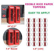 Teléfono Rojo Caja británico símbolo Novedad cake/cupcake Toppers Sobre Papel De Arroz