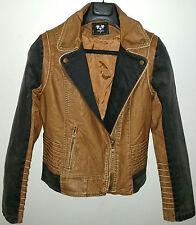 Women New Fashion Lapel Denim Black Brown Leather Trim Zip Biker Jacket 10 12 14