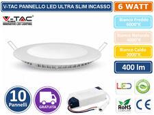 SET 10 PANNELLO V-TAC FARETTO FARO LED VT-607RD ULTRA SLIM DA INCASSO 6W ROTONDO