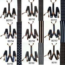 Men's Suspenders Braces Adjustable Leather Button Holes Stripes Checkers BD7H1