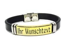 Leder Armband mit Edelstahlplatte Mit GRAVUR Wunschtext Wunschname Damen