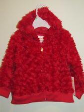 New Girl's Red Minky Rose Swirl Light Weight Full-Zip Hoodie Jacket, Sz 18M, 24M