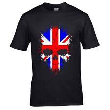 Vieux égouttement Tête de mort gothique & Drapeau Britannique GB T-Shirt Hommes