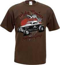 T Camiseta en color marrón con Hot Rod US Car `50 stylemotiv Modelo MOTOR Maniac
