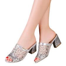 Women's Casual Sequins Open Toe High Heel Platform Flip Flops Sandal Slippers