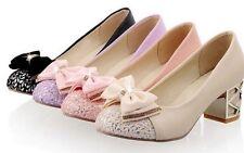 Décollte Zapatos de salón mujer talón cuadrado 5 cm elegantes clásico 9176