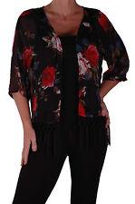 Womens Floral Print Chiffon 3/4 Sleeve Casual Open Kimono Fashion Cardigan Tops