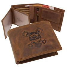 Leather Wallet Purse Purse Biker Skull Horizontal Format Rfid - Protection Braun
