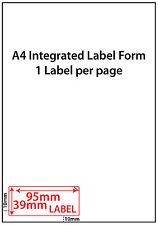 EBAY Integrated Post Label - 95x39mm. Easy peel address label A4 sheet