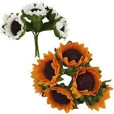 Bunches of 6 Small Foam Sunflowers - Artificial Silk Sun Flowers Gerbera