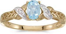 10k Yellow Gold Oval Aquamarine And Diamond Ring (CM-RM2584-03)
