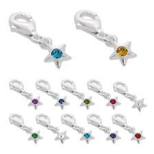 Sterling Silver & CZ Crystal Birthstone Star Clip-On Charm Birthday Stars Gift