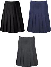 Girls Stitch Down Knife Pleat School Uniform Skirt Uk