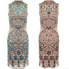 Femmes Sans Manches Perlé Aztèque Floral Découpe Sequin Maj Ligné Robe Mi-longue