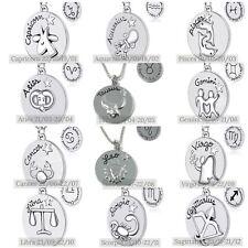 925 Silver Plt Reversible Zodiac Star Sign Necklace Romantic Fun Horoscope 12