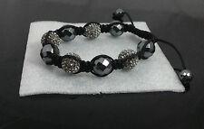 Mens Gift Black Bead Crystal Disco Ball Macrame Braided Weave Bracelet