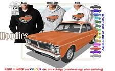 70-72 XY FALCON 500 SEDAN HOODIE ILLUSTRATED CLASSIC RETRO MUSCLE SPORTS CAR