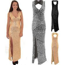 Ladies Sleeveless Plunge V-Neck Cut Out Back Sequin Side Split Lined Maxi Dress