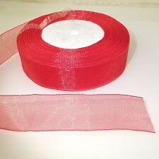 """25mm 1"""" rosso cucito bordo Sheer in Organza e nastro 3m 5m 10m Craft Cucito"""