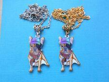 French Bulldog Necklace & Pendant Dog Acrylic Metal Multi-Coloured Choose Chain