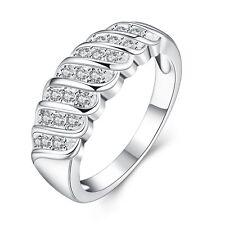 Anillo plata PL. anillo de plata con 20 circonita compromiso amistad regalo