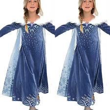 Kids Girls Dresses Costume Princess Party Fancy Dress Snow Cape Fancy Dress 3-8Y