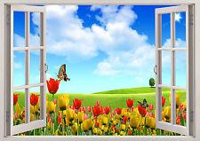 Nature Flowers Summer Tulips 3D Effect Window Wall View Sticker Mural Art 582