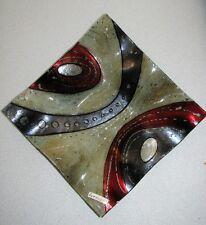 Glasteller/Deko-Teller*abstraktes Design* beige/schwarz/rot/silber 19 x 19 cm