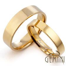 US Men Women Plain 18K Gold F Wedding Flat Comfort Fit Titanium Rings GM057