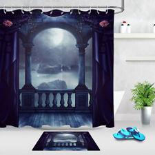 Gothic Style Vintage Balcony Moon Scene Fabric Shower Curtain Set Bathroom Decor