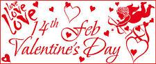 Giorno di S. VALENTINO CUPIDO, Love & Cuori Vinile Negozio Vetrina Adesivo V6