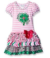 Bonnie Jean Girls Shamrock Green Clover Princess St Patrick' Pink Dress 2T 3T 4T