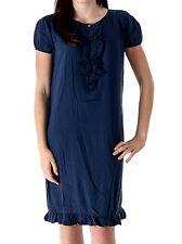Manila Grace Shirt Dress Summer dress College blau Ruffle Viscose