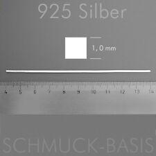 10 cm Silberstift (1,0 mm) massiv 925 Silber; VIERKANT