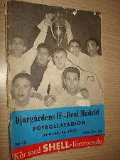 MATCH PROGRAM DJURGARDENS IF-REAL MADRID FOTBOLLSTADIUM 21-8-1960 18:00
