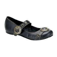 Demonia Daisy-09 Ladies Shoes Ballet Flat Tip Black Vegan Leather