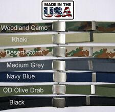 Military Web Belt Cotton Canvas Antique Nickle Buckle Adjustable Uniform US Made