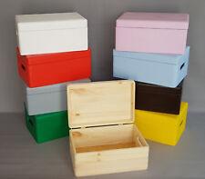 Wooden Box Souvenirs Trunk Handles Lid Storage Keepsake Memory Craft Home Decor