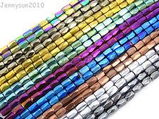 100Pcs Natural Magnetic Hematite Gemstone Faceted Tube Beads 5x8mm Metallic