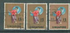 S'pore definitive 15c X 3 1968 used  # F10