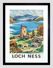Viaggi SCOZIA Castello di Loch Ness British Railways Framed Art Print b12x7885