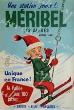Vintage Meribel France Winter Sports Tourism Poster A3/A4 Print