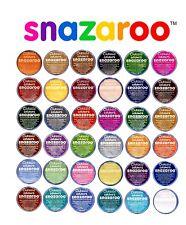 18 ml Snazaroo Visage et Corps Peinture Maquillage Couleurs Peintures Fancy Dress 57 Couleurs